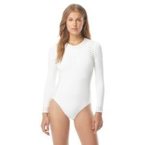 Michael Kors Studded Rashguard Swimsuit White 10 8